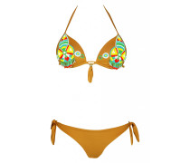 Push Up Bikini in braun mit Perlenstickerei