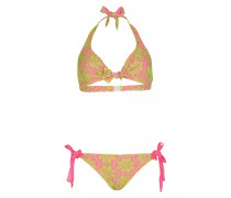 Triangel Bikini mit Blütenstickerei in Pink C/D Cup