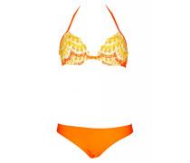 Bügel-Bikini gehäkelt mit Fransen in orange