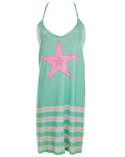 Kleid mit Pailletten und Streifenmuster in Grün-Fushia