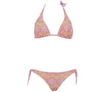 Triangle Bikini aus Makramee-Spitze in Rosa auf Gelb ideal für B/C Cups