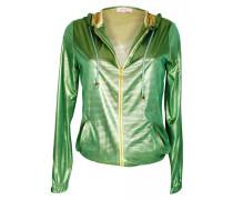 Kapzenjacke im Metallic-Look grün