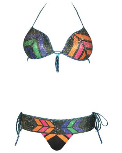 Push-Up Bikini Navajo mit Pailletten in schwarz