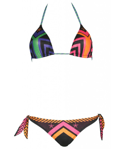 Padded Triangle Bikini Navajo in schwarz