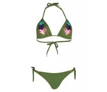 Padded Triangel Bikini mit Pailletten in Grün