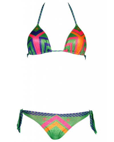 Padded Triangle Bikini Navajo in grün