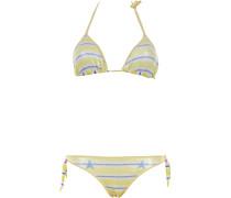 Gefütterter Triangle Bikini mit Pailletten und Streifenmuster in Gelb-Weiß-Blau