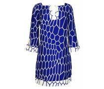 Kleid aus Seide mit Wabenprint in Blau