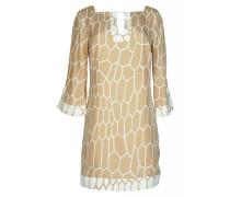Kleid aus Seide mit Wabenprint in Beige
