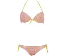 Ungefütterter Bügel Bikini aus Makramee Spitze in Rose