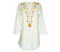 Tunika in weiß mit Perlenstickerei