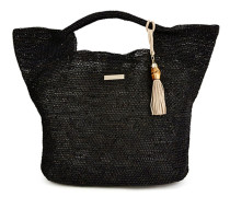 Grace Bay Mini Raffia Bucket Bag schwarz