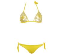 Triangle Bikini mit Pailletten-Blüte in Gelb