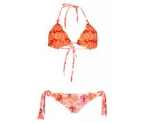 Padded Triangel Bikini mit floralen Häkeldetails