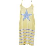 Kleid mit Pailletten und Streifenmuster in Gelb-Weiß-Blau