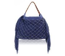 Neal Handtasche aus reiner Baumwolle in Navy Blue mit Flechtarbeit mit Nieten...