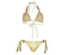 Padded Triangel Bikini mit Häkeldetails in Gold