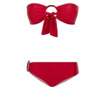 Padded Bandeau Bikini mit Ringen in rot