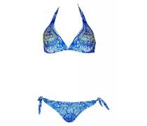 Triangle Bikini mit Nietendetails in blau C/D Cup