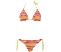 Gefütterter Triangle Bikini mit Streifenmuster in Gelb-Orange-Fuchsia