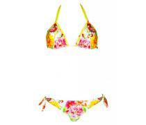 Padded Triangle Bikini mit Blumenprint in weiß