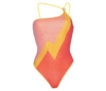 Lurex Asymmetrischer Badeanzug Gelb