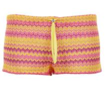 Shorts aus softer Viskose-Baumwolle mit Streifenmuster in Gelb-Orange-Fuchsia