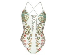 Padded Badeanzug mit Perlenstickrei in weiß