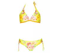 Triangle Bikini mit Blumenprint in gelb C/D Cup