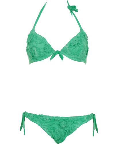 Bügel Bikini aus Makramee-Spitze in Grün