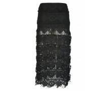 Rock aus gehäkelter Baumwollspitze in schwarz