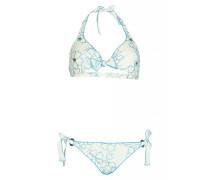 Triangel Bikini mit Blütenstickerei in Weiß C/D Cup