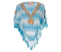 Poncho aus Baumwolle mit Blumen-Stickerei Orange auf blau-weiß-grauem Zackenp...