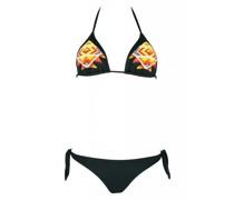 Padded Triangle Bikini in schwarz mit Perlenstickerei