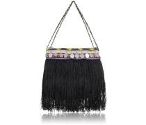 Jumbo Handtasche aus Nylon in Schwarz mit Stickerei, Perlen und Fransen