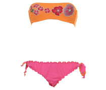 Gefütterter Bandeau Bikini in Pink/ Orange mit Blumen-Stickerei und Schmuckst...