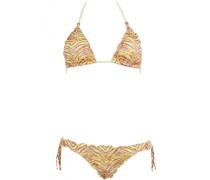 Padded Triangle Bikini mit Print und Spitze