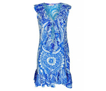 Kleid im Musterprint mit Rüschen in blau