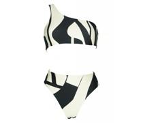 Perlin Asymmetrischer Bikini schwarz