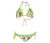 Padded Triangel Bikini mit Blütenprint und Spitzen-Details
