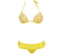 Push up Bikini mit Pailletten- Blumen in Gelb
