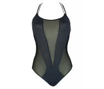 Badeanzug mit Netzoptik in schwarz