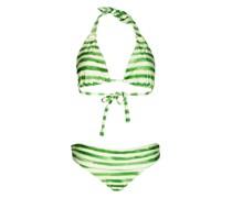 Green Stripe Padded Halter Bikini