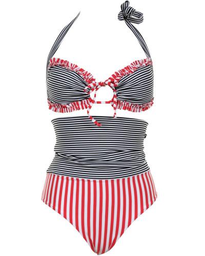 Marie gefütterter Bandeau-Bikini Kombination mit Rot/ Schwarz/Weiß Streifen