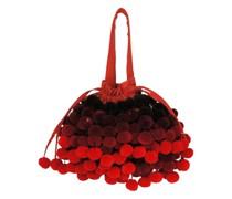 Charlotte Pompom Tasche in rot