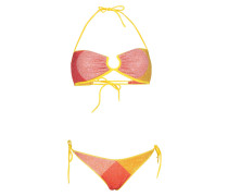 Lurex Padded Bandeau Bikini Gelb