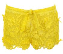Shorts aus Makramee-Spitze in Sonnengelb mit Tunnelzug und Innenfutter