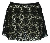 Minirock aus gehäkelter Baumwollspitze in schwarz