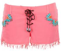 Shorts aus Seide mit Blumen-Perlen-Stickerei in Türkis auf Koralle mit Fransen