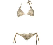 Padded Triangle Bikini Nude mit Blüten und weißer Spitze